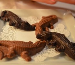 Le Crocodile ends the dinner with chocolate crocodiles Courtesy of Murissa Shalapata