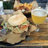 The Pharmacy Burger Parlor and Beer Garden - Turkey burger with black beans & corn salad