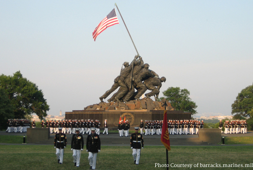Marine Corps Silent Drill Platoon at the U.S. Marine Corps War Memorial.