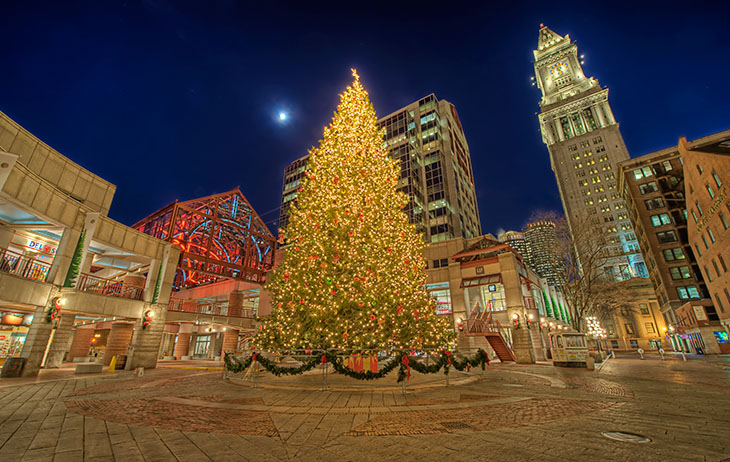Celebrate like a local bostons best holiday traditions faneuil hall christmas tree sciox Images