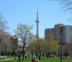CN Tower from Trinity Bellwoods Park Courtesy of Haaron755