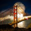 Fireworks over San Francisco's Golden Gate Bridge